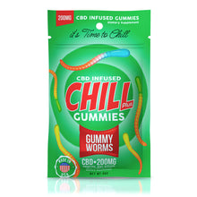 Load image into Gallery viewer, Chill Plus- CBD Gummies Gummy Worms 200mg