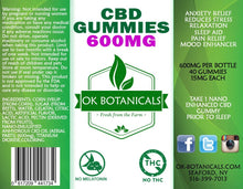 Load image into Gallery viewer, OK Botanicals - CBD Gummies 600mg
