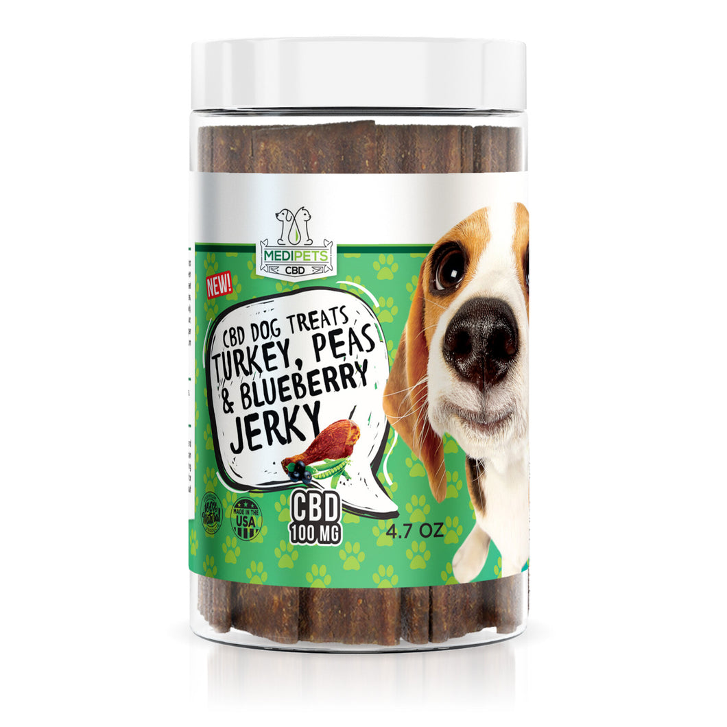 MediPets - CBD Pet Dog Treats Turkey, Peas & Blueberry Jerky 100mg