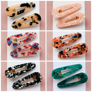 MARBLED TEARDROP HAIR CLIP SET (2 Pack)