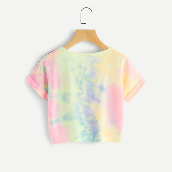 Rainbow Pastel Tie Dye Crop Top