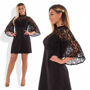 Spring Plus Size Dress Mini Summer Dress Sexy Bodycon Party Dress 5XL 6XL Big Women Lace Dress Black Robe Femme 2019