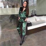 Women's Casual Satin Two Piece Tracksuit