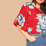 SHEIN Bohemian Plus Size Flounce Sleeve Floral Print Blouse Women 2019 Spring Round Neck Short Sleeve Highstreet Tops Blouse