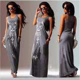 Women's Cat Print Maxi Dress