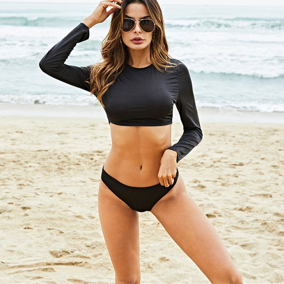 High Waist Long Sleeve Bikini