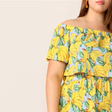 SHEIN Yellow Off Shoulder Banana Print Flounce Sleeve Crop Top And Shorts Set 2019 Summer Boho Indie Folk Two-piece Sets