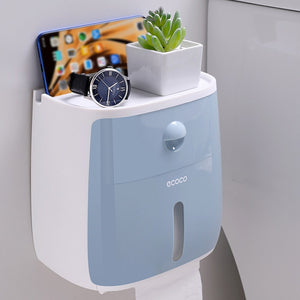 ECOCO Toilet Paper Wall Mount Holder with Shelf and Drawer