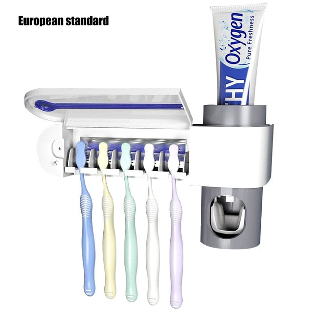 2 in 1 UV Light Toothbrush Sterilizer + Automatic Toothpaste Dispenser