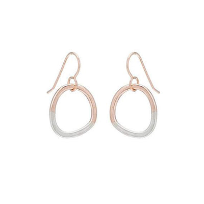 E302g.rg Two-Toned Mixed Metal Mini Rose Gold and Sterling Silver Stone Earrings