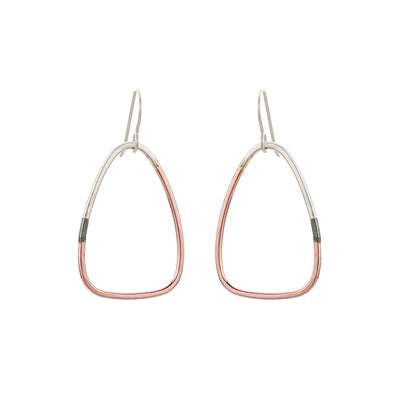 E319t.rg Small Tri-Toned Mixed Metal Triad Earrings in Sterling Silver, Black Oxidized Silver and Rose Gold
