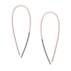 e325x.rg Large Black and Rose Gold Teardrop Pull Through Earrings