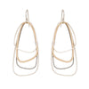 E329s.yg Yellow Gold, Silver and Black Multi Triangle Earrings