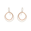 E331s.rg Double Rounded Square Earrings in Sterling Silver and Rose Gold