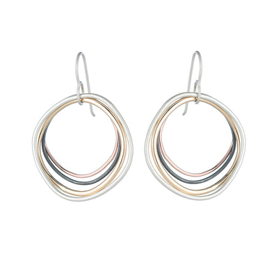 E344 Four Color Multi Square Hoop Earrings in Sterling Silver, Oxidized Silver, Yellow Gold and Rose Gold