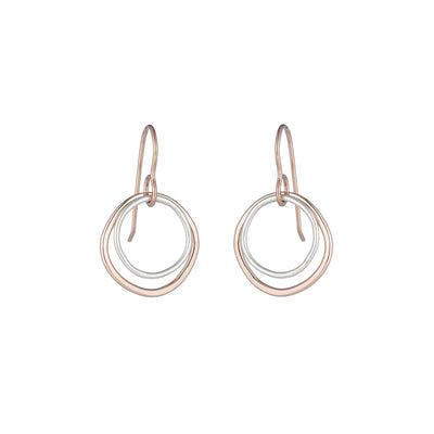 E346g.rg Small Double Rounded Square Earrings in Rose Gold and Sterling Silver