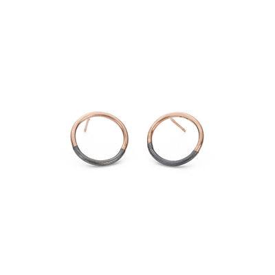 E305x.rg Black and Rose Gold Circle Post Earrings