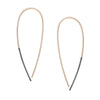 e325x.yg Large Black and Yellow Gold Teardrop Pull Through Earrings