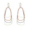 E329s.rg Rose Gold, Silver and Black Multi Triangle Earrings