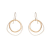 E331s.yg Double Rounded Square Earrings in Sterling Silver and Yellow Gold