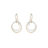E346g.yg Small Double Rounded Square Earrings in Yellow Gold and Sterling Silver