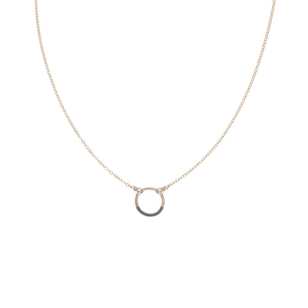 N281x.yg Mini Black and Gold Circle Necklace