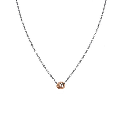 N283x.rg Black Oxidized Silver and Rose Gold Cinq Necklace