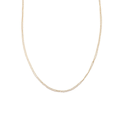 N305yg Delicate Double Monotone Chain Necklace in Yellow Gold