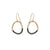 E302x.yg Two-Toned Mixed Metal Mini Black & Yellow Gold Stone Earrings