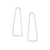 E307s.yg Large Two-Toned Mixed Metal Triangle Pull-Through Earrings in Sterling Silver and Yellow Gold