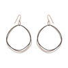 E315t.rg Organic Circle Multi-Loop Tri-Toned Earrings in Rose Gold, Sterling Silver and Black Oxidized Silver