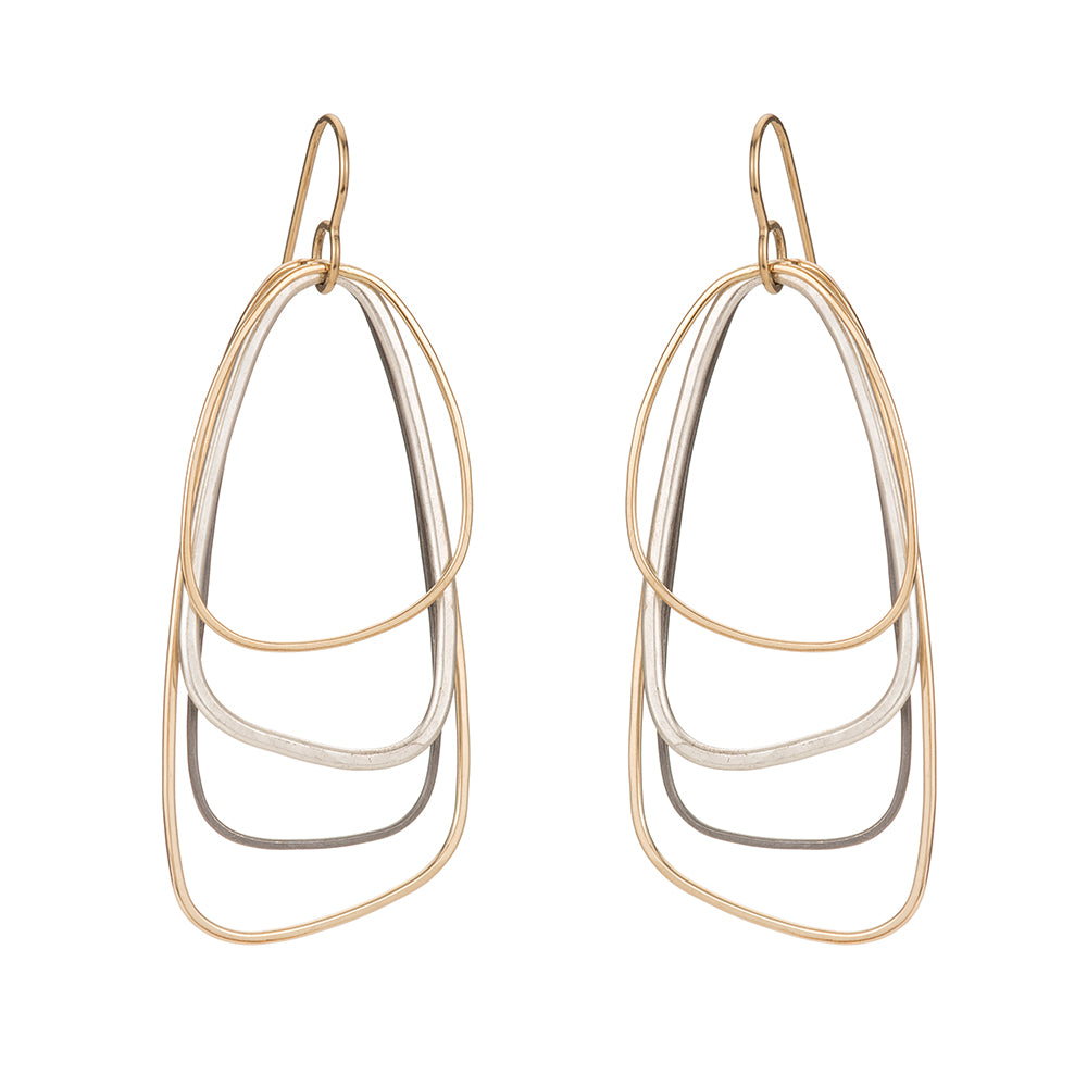 E329g.yg Yellow Gold, Silver and Black Multi Triangle Earrings