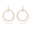 E332s.rg Large Double Rounded Square Earrings in Sterling Silver and Rose Gold