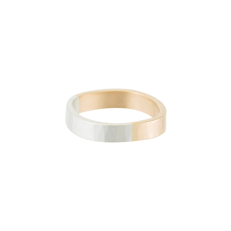 TTRS4.yg.s 4mm Wide 14k Yellow Gold and Silver Round Ring