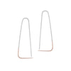 E307s.rg Large Two-Toned Mixed Metal Triangle Pull-Through Earrings in Sterling Silver and Rose Gold
