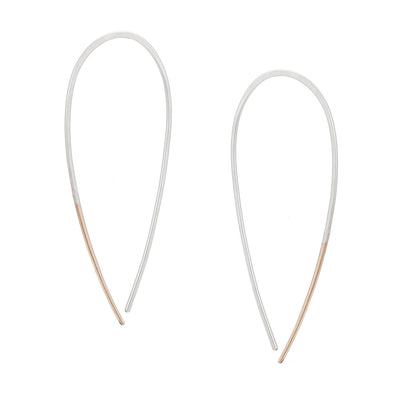 E325s.yg Large Two-Toned Mixed Metal Teardrop Pull-Through Earrings in Sterling Silver and Yellow Gold