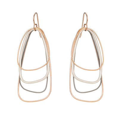 E329g.rg Rose Gold, Silver and Black Multi Triangle Earrings