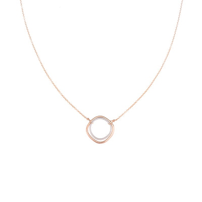 N306g.rg Rose Gold & Silver Double Square Necklace