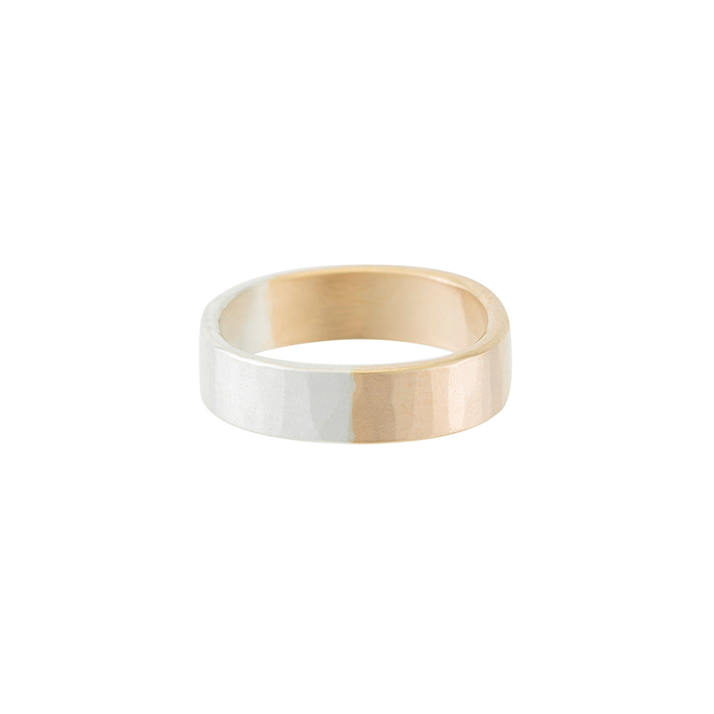 5mm Wide 14k Gold & Silver Round Ring