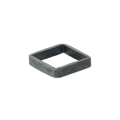 XSQ4 4mm Square Black Oxidized Sterling Silver Densa Ring