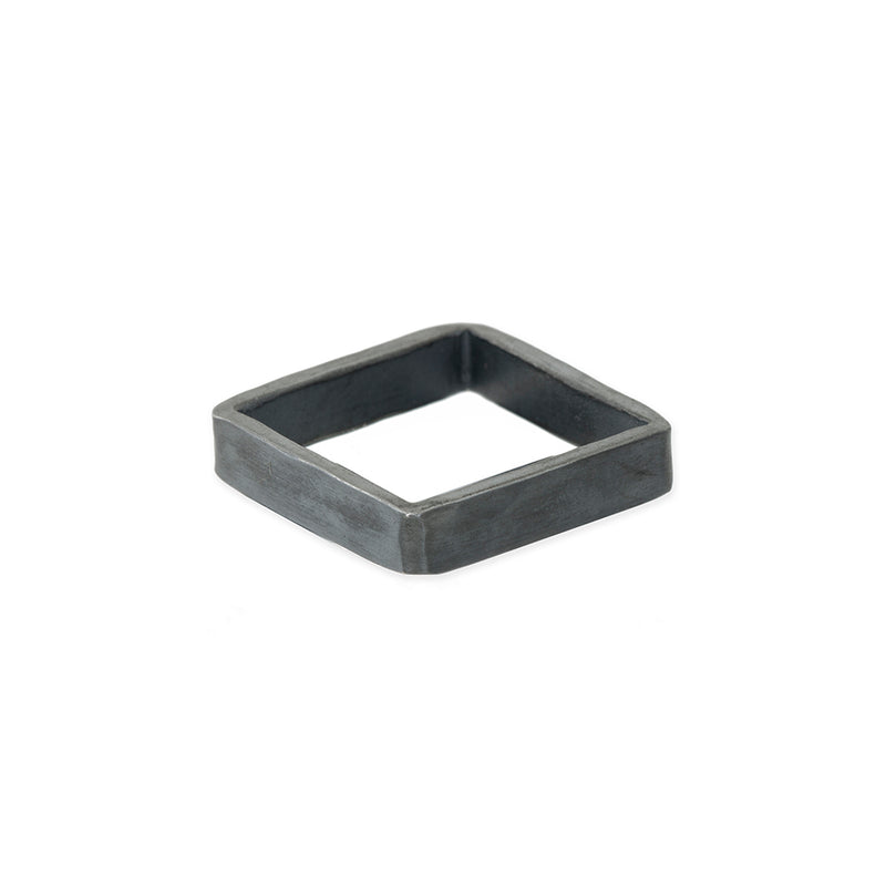 SSQ4 4mm Square Sterling Silver Densa Ring