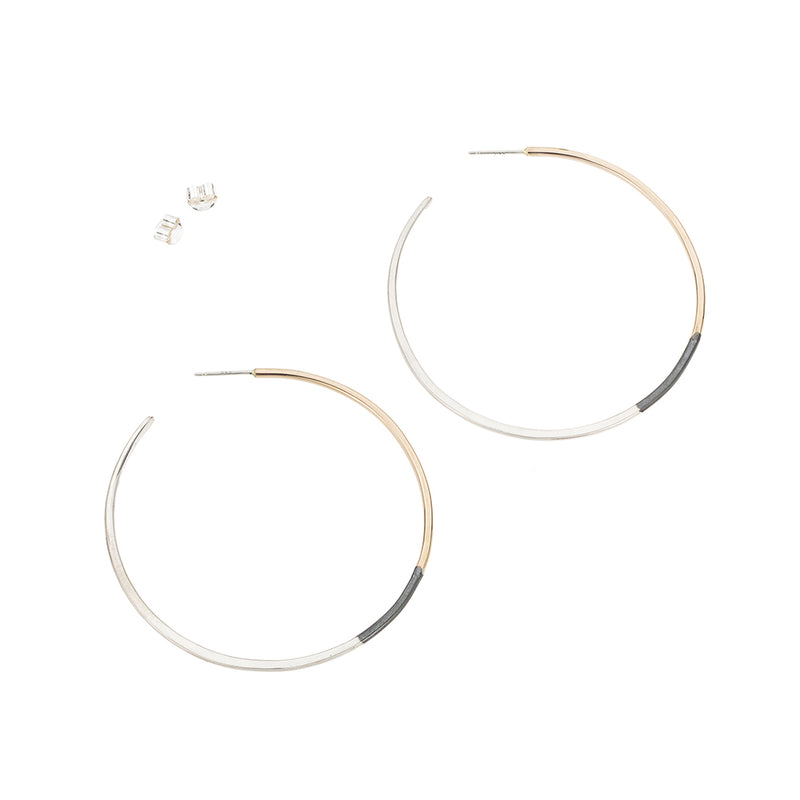 E322t.yg Large Tri-Toned Mixed Metal Classic Hoop Earrings in Yellow Gold, Sterling Silver and Black Oxidized Silver