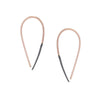 E324x.rg Small Two-Toned Mixed Metal Teardrop Pull-Through Earrings in Rose Gold and Black Oxidized Sterling Silver