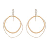 E332s.yg Large Double Rounded Square Earrings in Sterling Silver and Yellow Gold