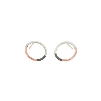 E305t.rg Tri-Toned Circle Post Earrings in Rose Gold, Sterling Silver and Oxidized Silver