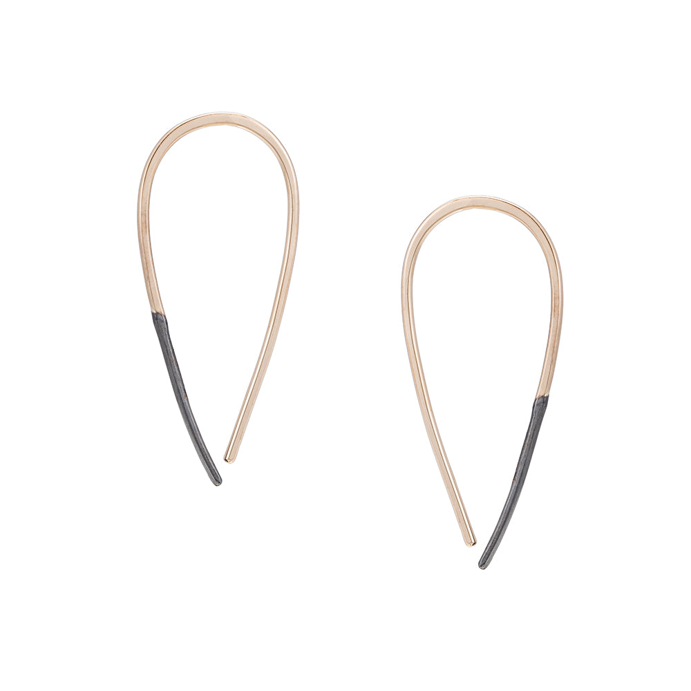 E324x.yg Small Two-Toned Mixed Metal Teardrop Pull-Through Earrings in Yellow Gold and Black Oxidized Sterling Silver