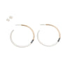 E310t.yg Tri-Toned Mixed Metal Classic Hoop Earrings in Yellow Gold, Sterling Silver and Black Oxidized Silver