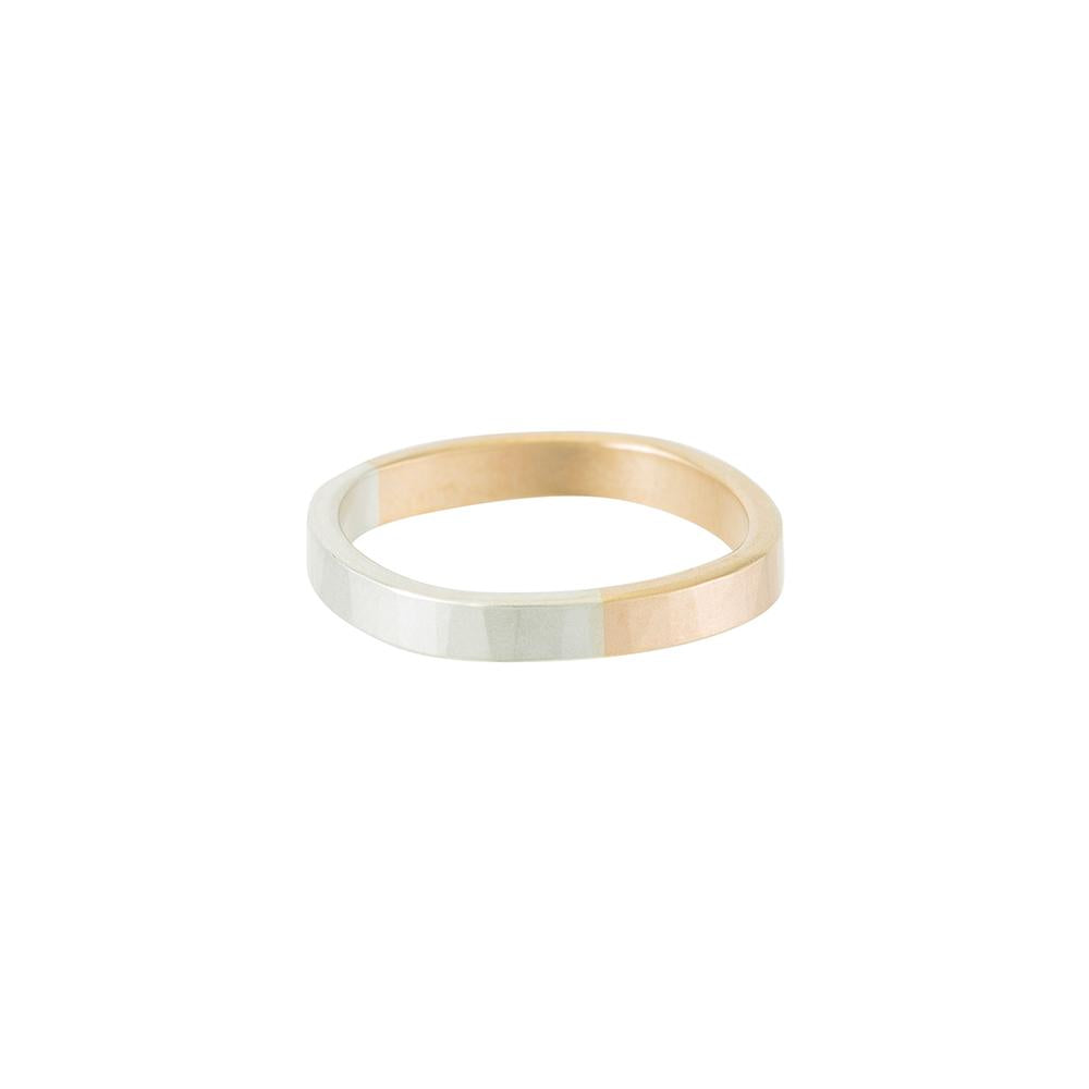 TTRS3.yg.s 3mm Wide 14k Yellow Gold and Silver Round Ring