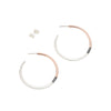 E310t.rg Tri-Toned Mixed Metal Classic Hoop Earrings in Rose Gold, Sterling Silver and Black Oxidized Silver