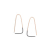 E303x.yg Small Two-Toned Mixed Metal Triangle Pull-Through Earrings in Yellow Gold and Black Oxidized Sterling Silver
